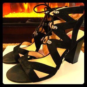 XOXO Soft Black Lace Up Heels